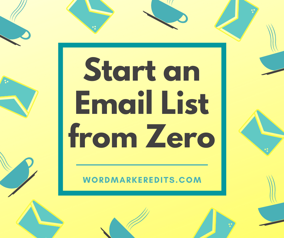 saucers and email icons with title of Start an Email List from Zero